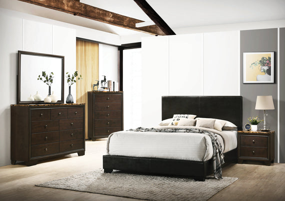 Conner California King Upholstered Panel Bed Black - 300260KW