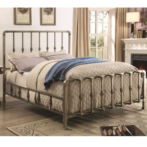 Micah Transitional Queen Bed with Mold-Casted Ornaments (ANTIQUE CHAMPAGNE) 300727Q (V001)