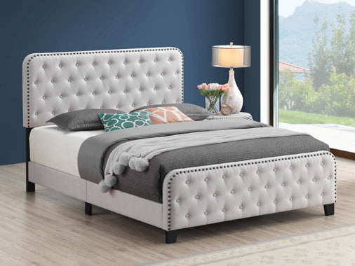 Littleton Eastern King Tufted Upholstered Bed Beige - 305992KE