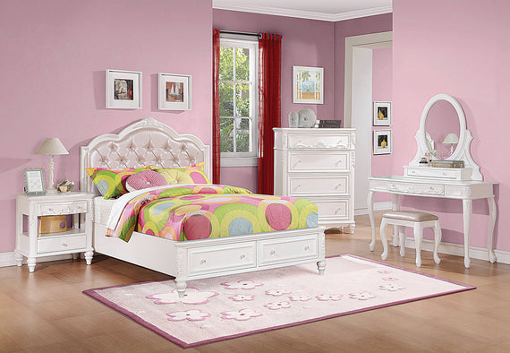 Caroline Twin Upholstered Storage Bed Pink And White 4PC Set - SET4PC400721T