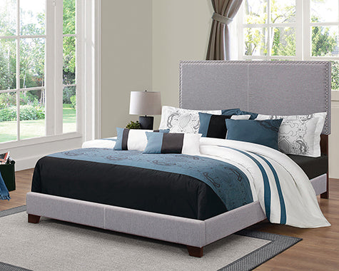 Boyd Queen Upholstered Bed With Nailhead Trim Grey - 350071Q