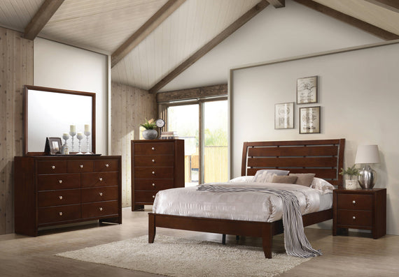 Serenity California King Panel Bed Rich Merlot - 201971KW