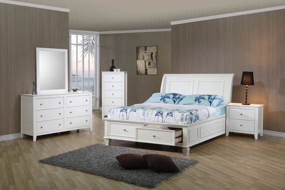 Selena Twin Sleigh Bed With Footboard Storage White 4PC Set - SET4PC400239T