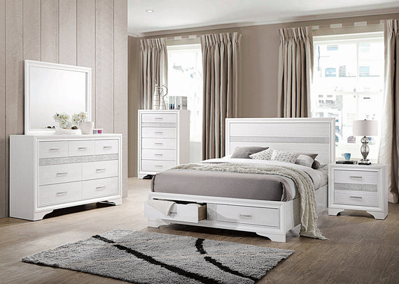 Miranda Queen 2-Drawer Storage Bed White 4PC Set - SET4PC205111Q