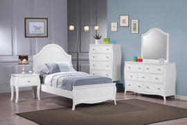 Dominique Twin 4PC Panel Bed Set White - SETT4P400561