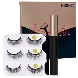 Coolours Magnetic Eyeliner and Lashes Magnetic Eyelashes Kit False Lashes 3 pairs with Tweezers : Beauty