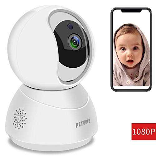 Peteme Baby Monitor 1080P FHD Home WiFi Security Camera Sound/Motion Detection with Night Vision 2-Way Audio Cloud Service Available Monitor Baby/Elder/Pet Compatible with iOS/Android: Camera & Photo PE220