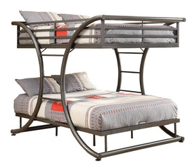 Bunks Full-over-Full Contemporary Bunk Bed (GUNMETAL)  - 460078