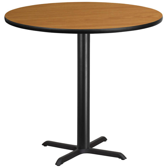 42'' Round Black Laminate Table Top with 33'' x 33'' Bar Height Table Base [XU-RD-42-BLKTB-T3333B-GG]