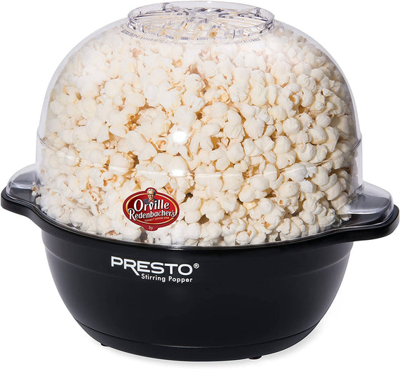 Presto Orville Redenbacher's Stirring Popper (Black) pops up to 6 quarts of popcorn or kettle corn. Motorized arm stirs corn as it pops for virtually no unpopped kernels. Built-in melter distributes butter over corn as it pops - 5204