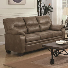Meagan Upholstered Sofa Brown With Pillow Top Arms - 506561