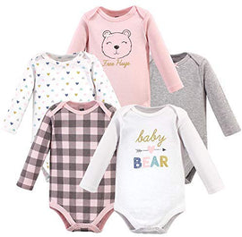 Hudson Baby Unisex Cotton Bodysuits, Girl Baby Bear Long-Sleeve 5-Pack, 0-3 Months (3M): Clothing