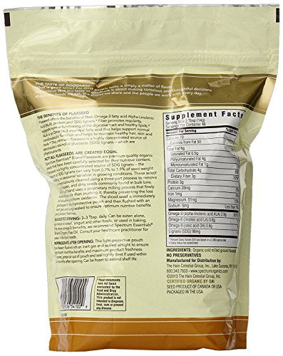 Spectrum Essentials Organic Ground Flaxseed, 24 Ounce (Pack of 1) : Flaxseeds Spices And Herbs : Grocery & Gourmet Food