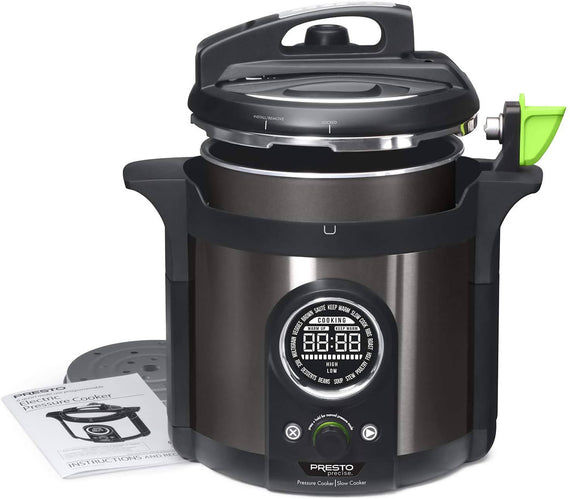 Presto 6 Quart Multi-use Programmable Plus Electric Pressure Cooker with 19 programmed settings, presets for pressure cooking and slow cooking, as well as specific settings for ribs, roast, fish, poultry, veggies, rice, stew, soup, desserts and more- 2142