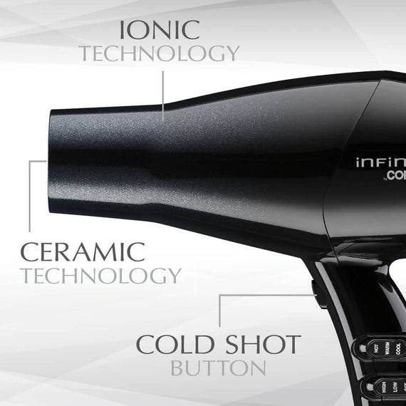 InfinitiPRO by Conair Diamond Brilliance 1875 Watt Diamond-Infused Ceramic Dryer - Creates even heat that dries hair gently and reduces damage while providing added shine - C-580R
