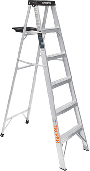TRUPER 6 FEET ALUMINIUM EST-35 5-STEP LADDER WITH STURDY PAIL SHELF - EXCELLENT FOR LOW AND MEDIUM HEIGHT PROFESSIONAL AND PAINTING JOBS - 16743