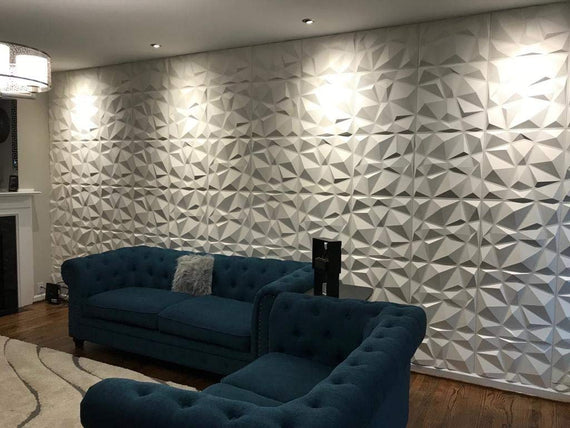 Mega Luxe Paintable 3D Texture PVC Wall Panels (19.7 x 19.7In.) - Decorative, waterproof, flame resistant, sturdy, interior decoration to add both aesthetics and functionality to your home and offices - D094
