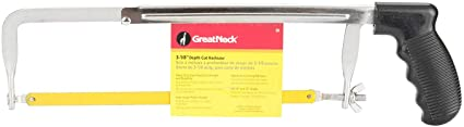"Great Neck 50 12"" Adjustable Hack Saw Frame with 4 Cutting Positions, 3"" Cutting Depth and Quality Steel Saw Blade. Suitable for Gardeners, Carpenters Sawing Plastic Pipes, Metal Pipes and Wood Saws - 076812009692"