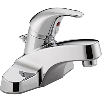 Peerless Centerset Bathroom Faucet Chrome, Bathroom Sink Faucet, Single Handle, Drain Assembly, Chrome- P136LF
