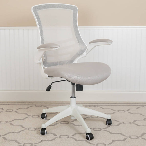 Mid-Back Mesh Swivel Ergonomic Task Office Chair with White Frame and Flip-Up Arms - BL-X-5M-WH-BK-GG / BL-X-5M-WH-BLUE-GG / BL-X-5M-WH-GY-GG / BL-X-5M-WH-TAN-GG / BL-X-5M-WH-WH-GG