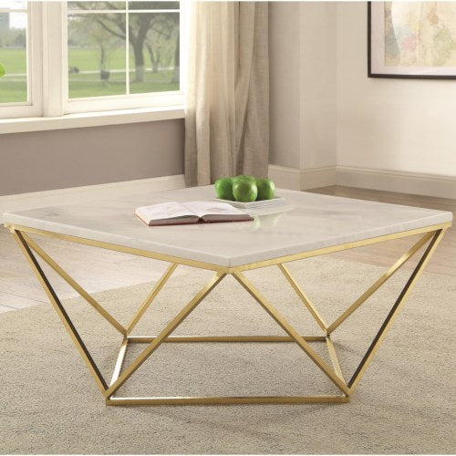 Square Coffee Table White And Gold - 700846