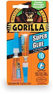 GORILLA Super Glue 2 Pack 3 Gram, Tubes, Bonds Wood, Plastic, Ceramic, Leather, Paper and More - 7800109