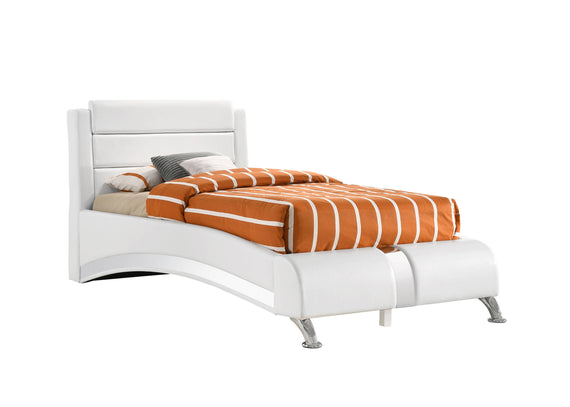 Twin Upholstered Platform Bed Glossy White - 300345T