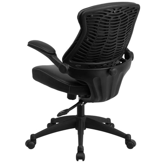 Mid-Back Black LeatherSoft Executive Swivel Ergonomic Office Chair with Back Angle Adjustment and Flip-Up Arms [BL-ZP-804-GG]