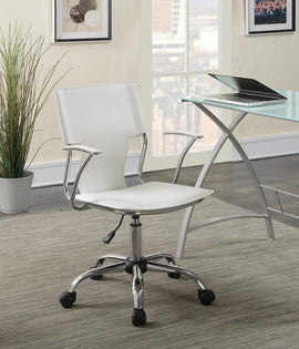 Adjustable Height Office Chair White And Chrome - 801363