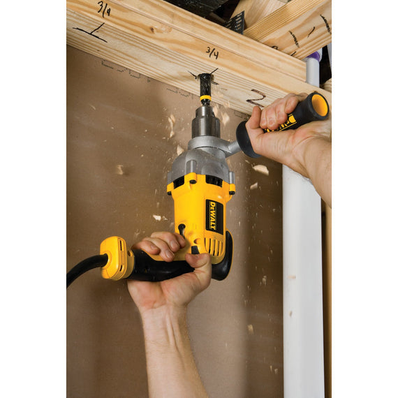 Dewalt 1/2 IN. (13 MM.) 1200 Watts Variable Speed Reversible Pistol Grip Drill - functions well for both steel and wood applications, when working with a spade or auger bit in wood, it offers a 1-1/2-inch capacity - DWD210G