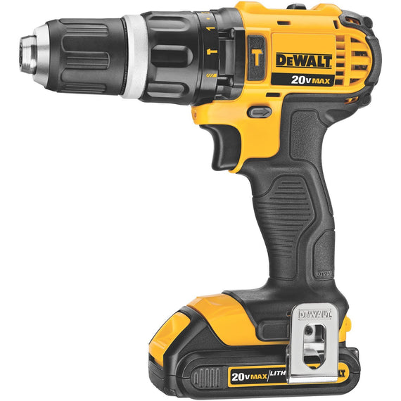 Dewalt 20V Max Lithium Ion Compact Hammerdrill Kit (1.5 AH) 13 MM Cordless Hammer Drill / Drill Driver - High Performance Motor Delivers Power And Ability Completing A Wide Range Of Applications - DCD785C2