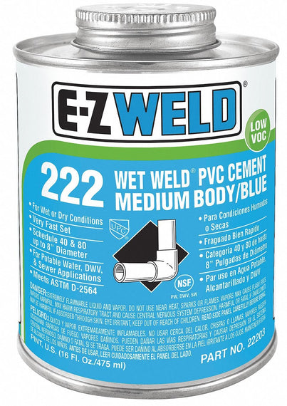 E-Z WELD - Wet Weld PVC Cement Medium Body 222 for use on pipe and fittings  240/475ml