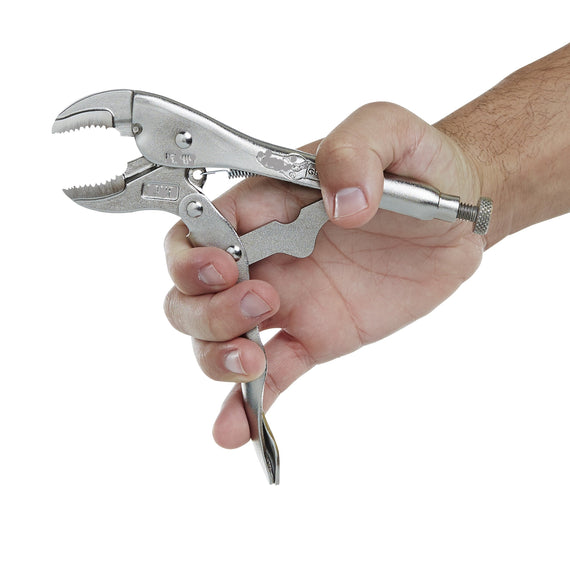 Pretul Curved Jaw Locking Pliers for Tightening, Clasping, Twisting and Turning. Made with heat-treated alloy steel and Nickel-plated finish for increased corrosion resistance. Ideal for welders, mechanics and carpenters