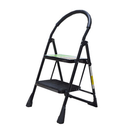 Family - Use Ladder 2 Step Black Folding Step Stool With Rubber Hand Grip - Make household tasks less of a chore with these handy stools - 20011741