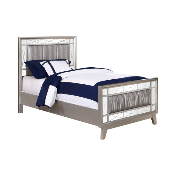 Leighton Twin Panel Bed With Mirrored Accents Mercury Metallic - 204921T