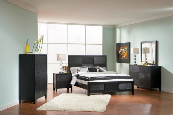 Grove Queen Panel Bed Black 4 PIECE Set - SET4PC201651Q