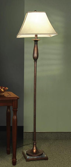 Square Empire Shade Floor Lamp Bronze And Beige - 901204