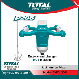 Total Portable 20 Volts Adjustable 6 Speed Electric Mixer - For Concrete, Cement, Plaster, Paint, Thinset, Mortar - TMXLI2001