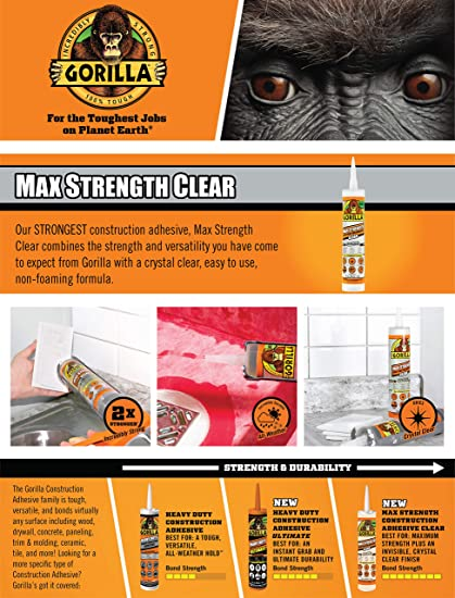 Gorilla Max Strength Clear Construction Adhesive, 9 ounce Cartridge, (Pack of 1) BONDS: Glass, Ceramic, Stone, Tile, Wet Surfaces, Landscaping, Decks, Trim/Molding, Metal, and More!- 8212302