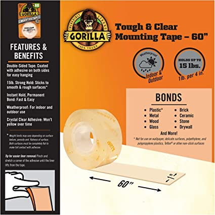 "Gorilla Tough & Clear Double Sided Mounting Tape, 1"" x 60"", Clear, (Pack of 1) Bonds to: Brick, concrete, stone, glass, metal, plastic, tile, wood and more-6065003"