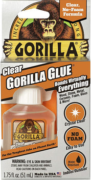 Gorilla Clear Glue, 1.75 ounce Bottle, Clear (Pack of 1) Compatible Material	Wood, Foam, Glass, Ceramic, Metal, Stone - 4500104