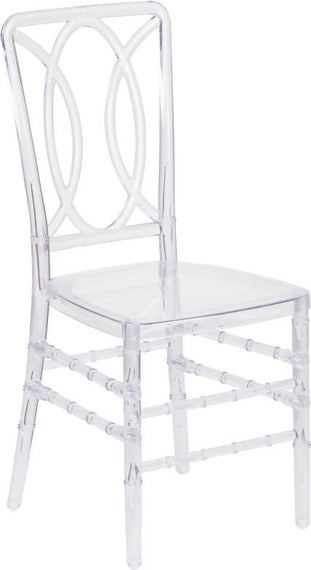 Elegance Crystal Ice Stacking Chair with Designer Back - BH-H007-CRYSTAL-GG