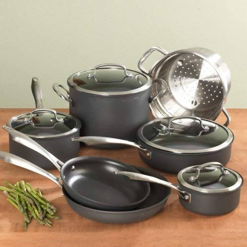 Cuisinart Dishwasher Safe Hard-Anodized 11 Piece Cookware Set (Black) - CU-DSA-11