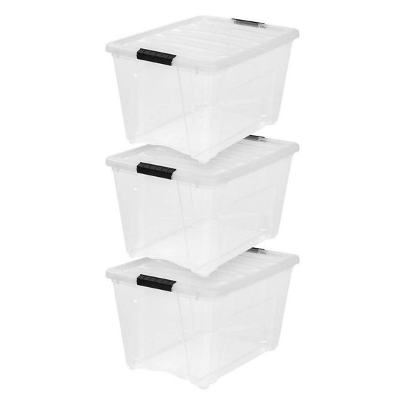 Iris 53 Qt. Stack and Pull Storage Container Tote Box with Lid, Clear 3 Pack This bundle of 3 storage boxes is perfect for eliminating clutter and getting the whole house organized -278090