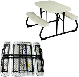 EFD Kids Table Bench Set Folding Plastic Steel Portable All Weather Activity Picnic Outdoor Patio Play Room Children Table with Benches eBook by Easy&FunDeals / 64220-81483809762