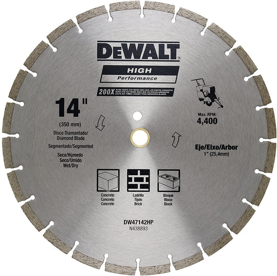 "Dewalt Diamond Blade Segmented 14"" (350MM) Wet/Dry Use for general purpose cutting of cured concrete, pavers, brick, block, bluestone, flagstone or any similar materials - DW47142HP"