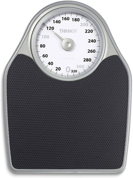 Conair Thinner Extra-Large Dial Analog Precision Scale features an extra-large dial and 330 pound weight capacity with a comfort grip platform and an easy-to-read rotating dial - C-TH100S