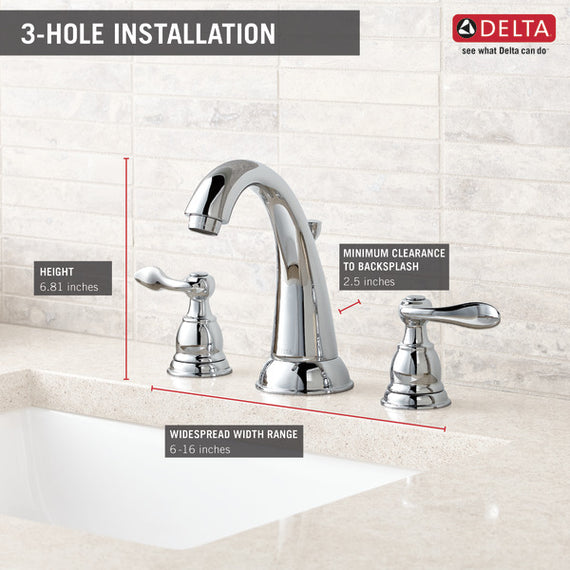 Delta Two Handle Widespread Bathroom Faucet -  B3596LF