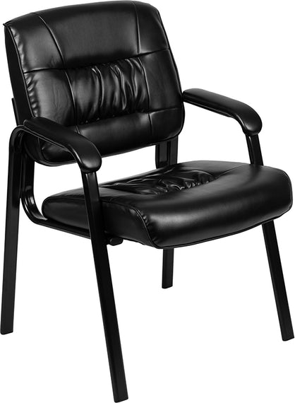 Black LeatherSoft Antimicrobial / Antibacterial Medical Side Chair with Black Metal Frame [BT-1404-ANTI-BK-GG]