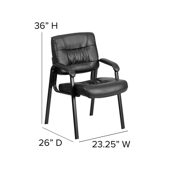 Black LeatherSoft Executive Side Reception Chair with Titanium Gray Powder Coated Frame [BT-1404-BKGY-GG]